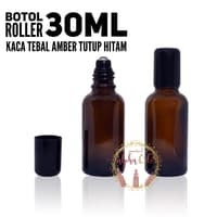 Botol Roller/Roll On Bottle Kaca Tebal Amber 30ml IMPORT