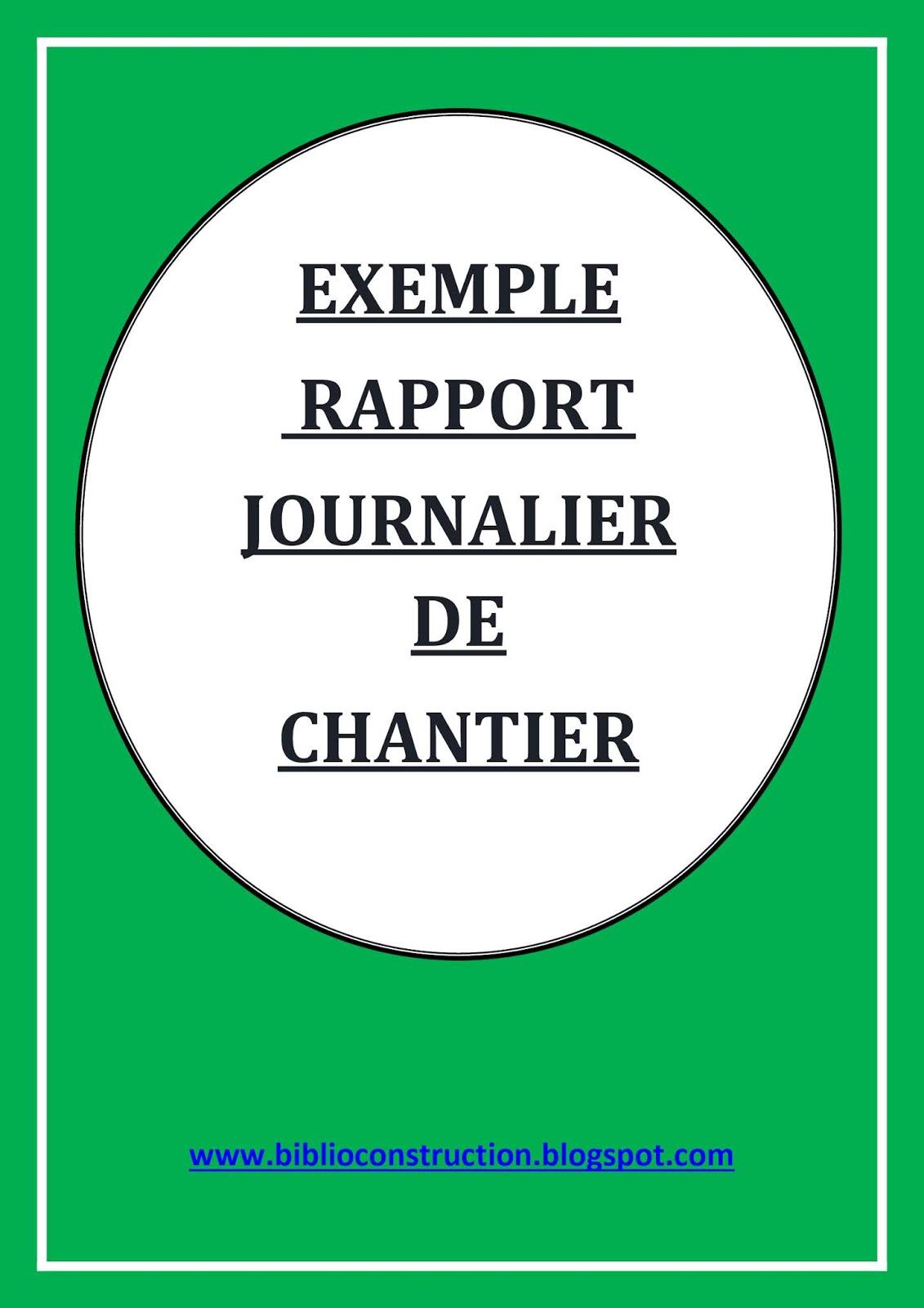 """Télécharger gratuitement un """"EXEMPLE DE RAPPORT JOURNALIER ..."""