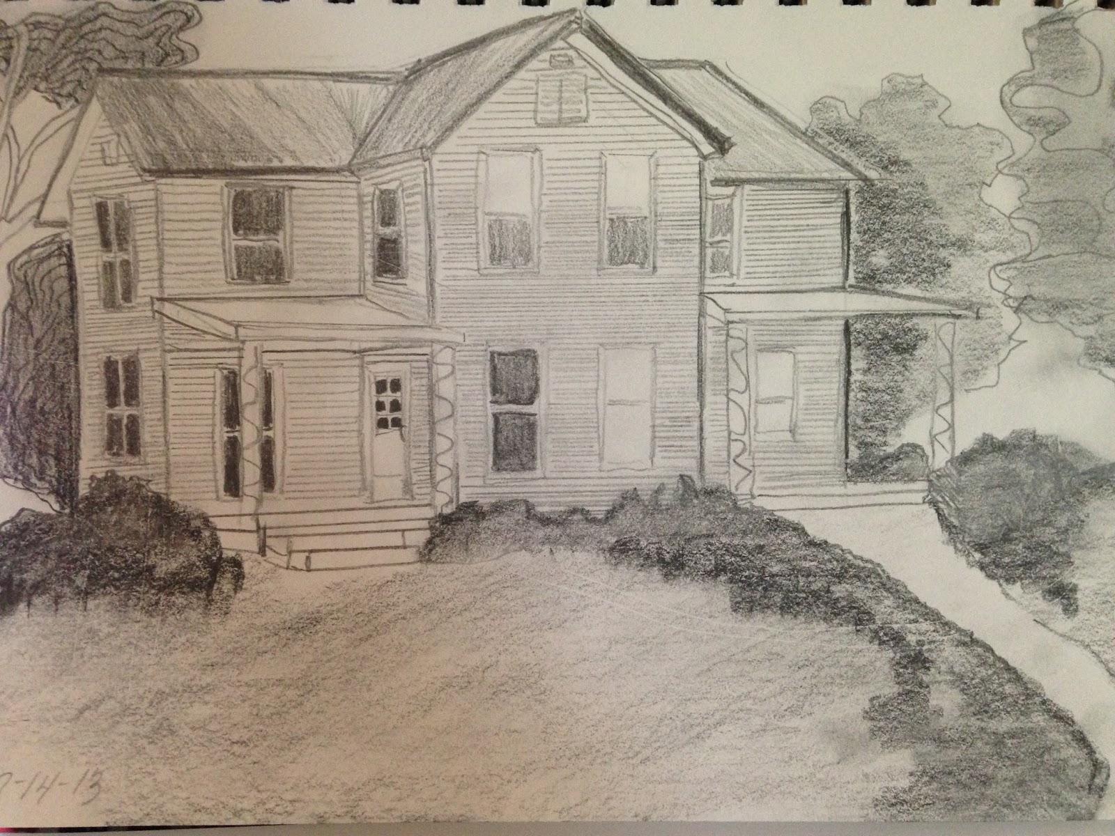Urban sketchers madison schumacher homestead farm house for How to draw a farmhouse