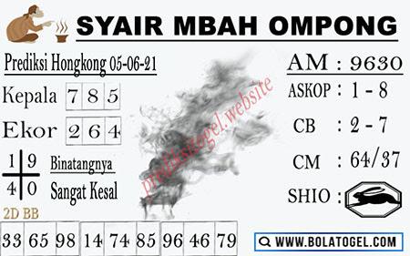 Syair Mbah Ompong HK Sabtu 05 Juni 2021