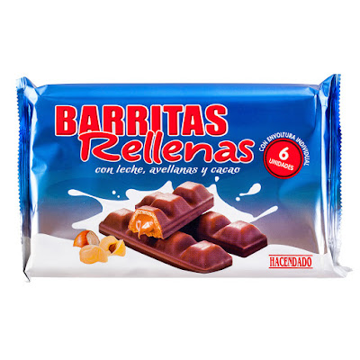 Barritas de barquillo rellenas recubiertas de cacao Hacendado