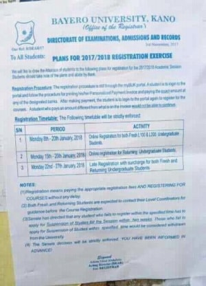 BUK 2017/2018 Registration Exercise Calendar Schedule Out