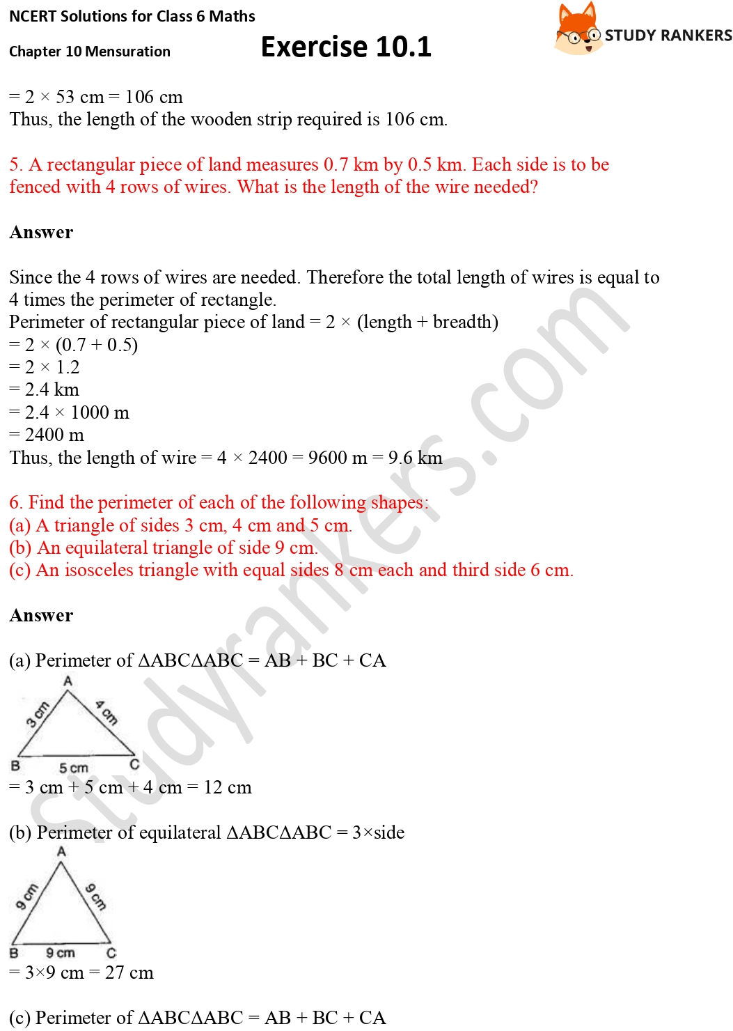 NCERT Solutions for Class 6 Maths Chapter 10 Mensuration Exercise 10.1 Part 3