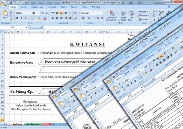 Contoh Format Kwitansi, Nota Pesanan, Faktur, Berita Acara Penerimaan Barang, Daftar Penerima Honor Kegiatan Dana BOS Format Microsoft Excel