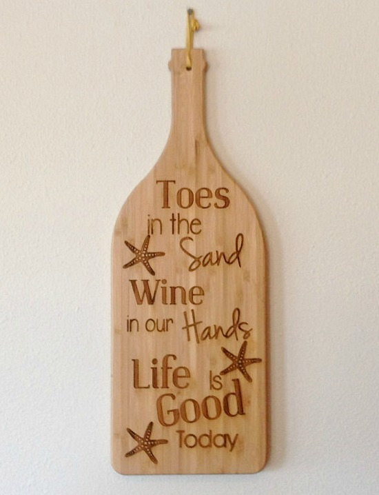 Toes in Sand Wine in Hand Cutting Board