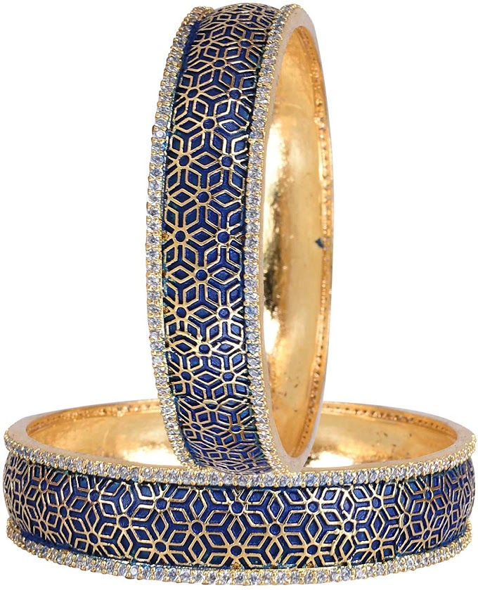 Ratnavali jewels American Diamond CZ Gold Plated Blue Meena Enamel White Bangles for Women/Girls RV3195B
