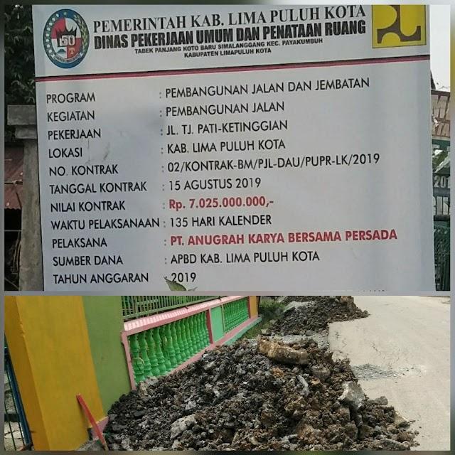"""Didanai Miliaran Rupiah, Pekerjaan  Pembangunan Jalan Dan Jembatan Nagari Batu balang,Di Duga Tak Sesuai Spek Dan,""""Basilemak"""""""