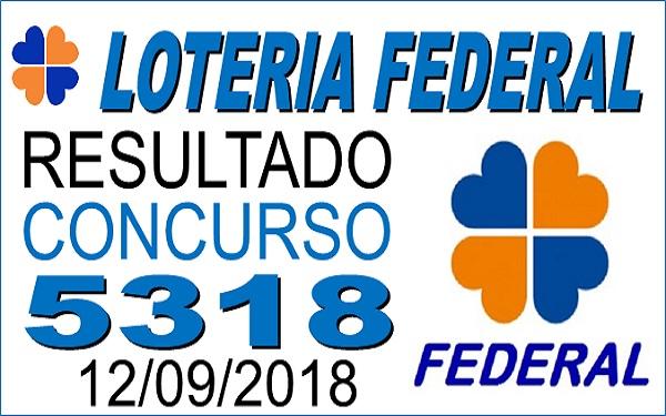 Resultado da Loteria Federal concurso 5318 de 12/09/2018 (Imagem: Informe Notícias)