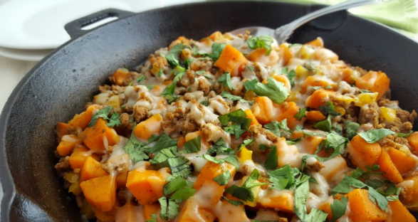 Ground Turkey Sweet Potato Skillet #potato #delicious