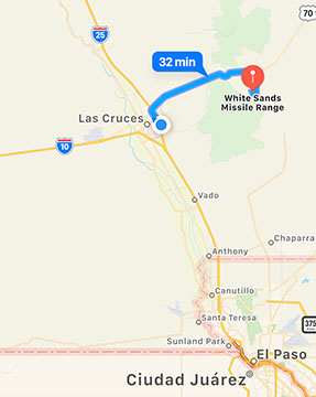 White Sands Missile Range is 1/2 hour from Las Cruces (Source: iPhone Maps)
