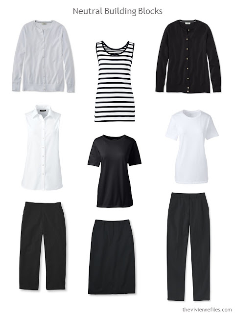 9 wardrobe Neutral Building Blocks in black and white for warmer weather