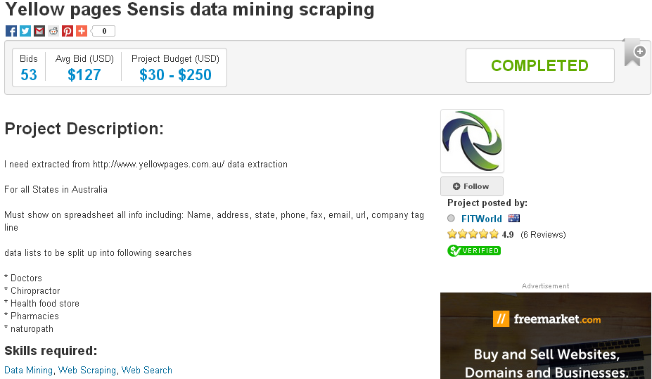 Professional for Webscraping