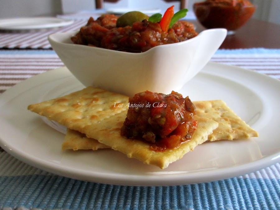 Baba ghanush con pimientos asados