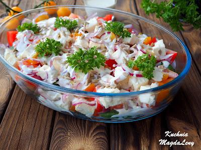 Sałatka z pomidorów i szpinaku