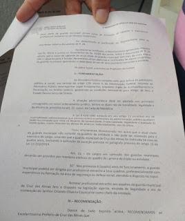 Ministério Público determina exoneração do comando da Guarda Municipal de Cruz das Almas (BA) por descumprimento da Lei 13.022/14