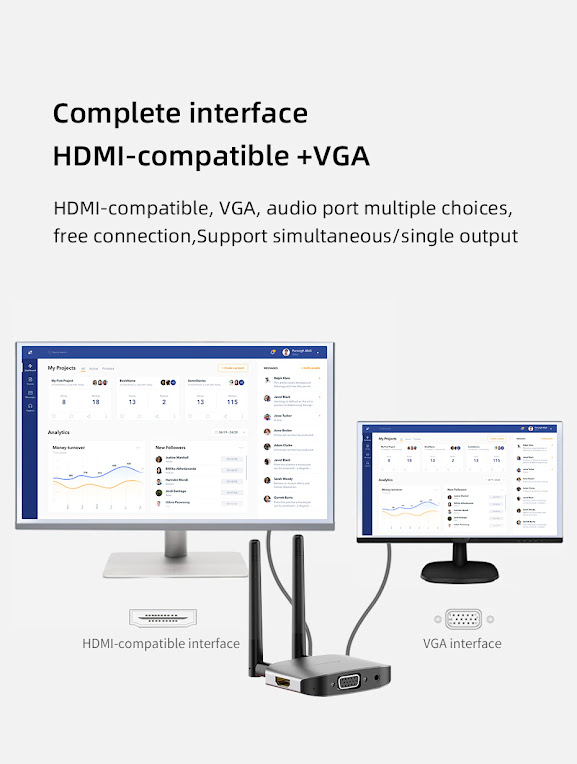 Hagibis Wireless HDMI-compatible Video Transmitter & Receiver Extender Display Adapter Dongle for TV Monitor Projector switch PC