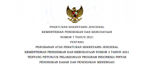 Persesjen Kemendikbud Nomor 7 Tahun 2021 Tentang Juklak Juknis PIP SD SMP SMA SMK tahun 2021