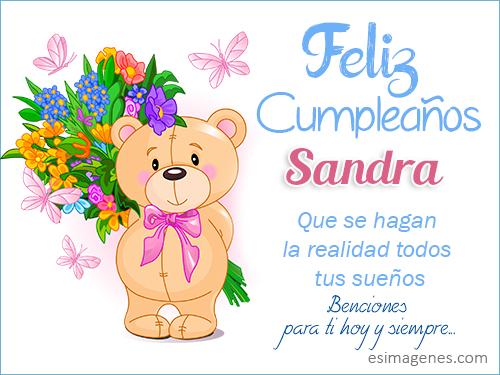 Feliz cumpleaños Sandra - Imágenes Tarjetas Postales con