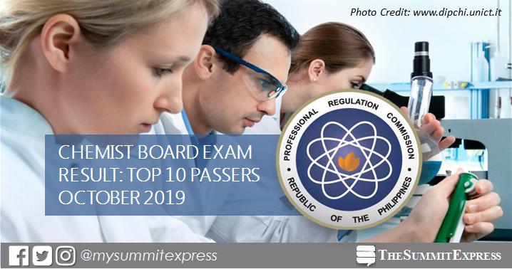 RESULT: October 2019 Chemist board exam top 10 passers