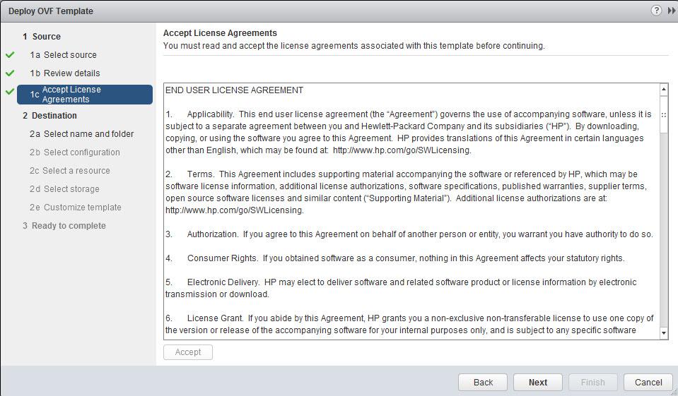 VMware Snapshots: HP vPv installation