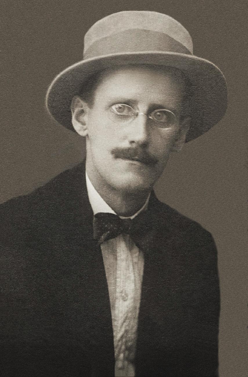 帽子を被って眼鏡をかけた殆ど正面向きのジェイムズ・ジョイス