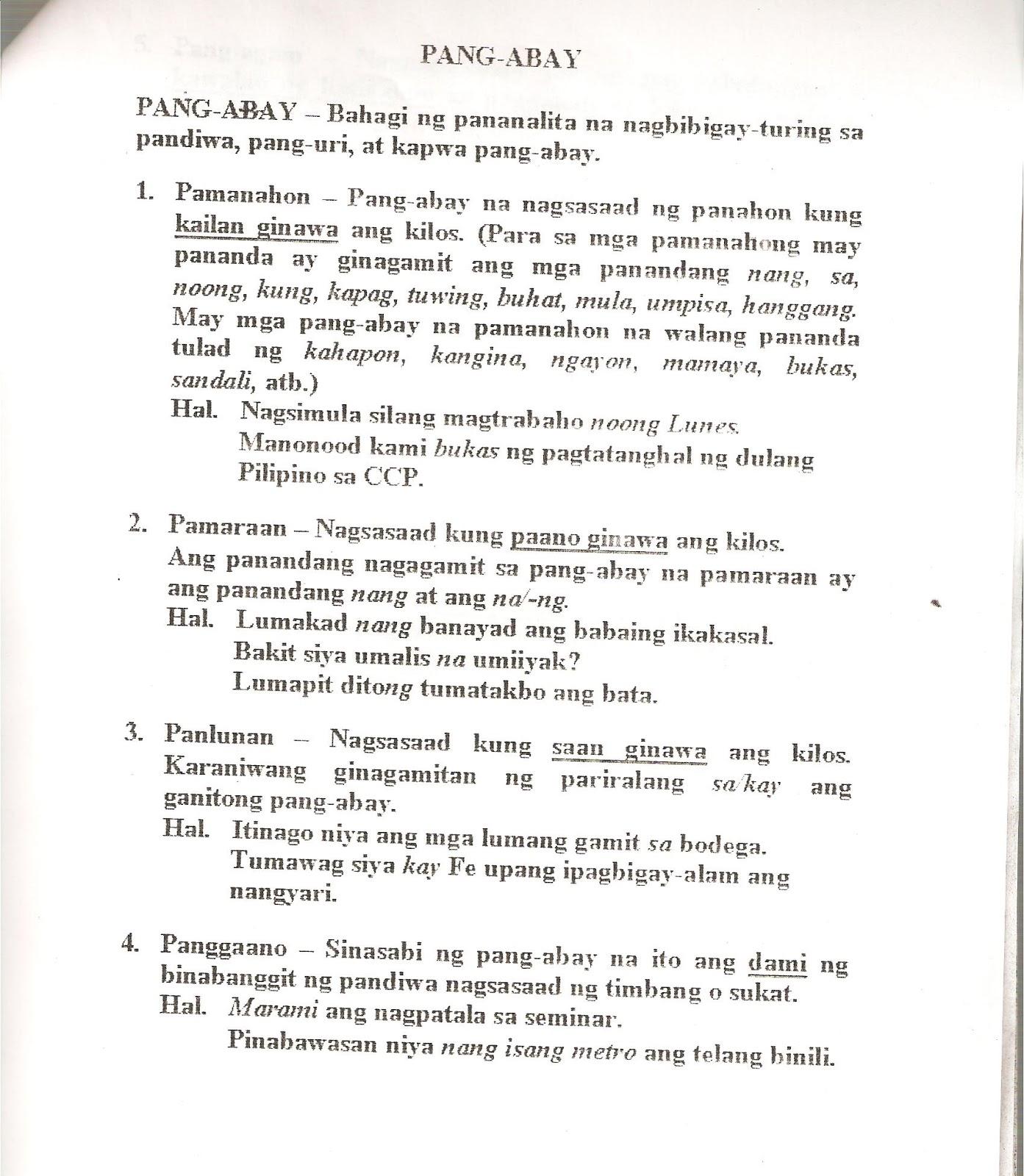 Pang Abay Worksheets Philippin News Collections