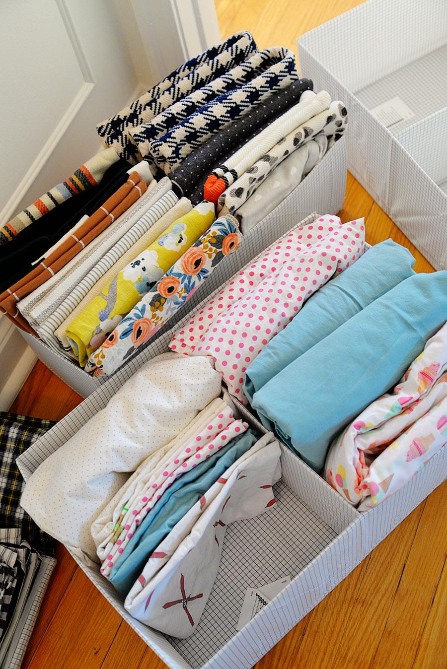 linen closet organization ideas, ideas for linen closet, how to store blankets, Ikea STUK organizers