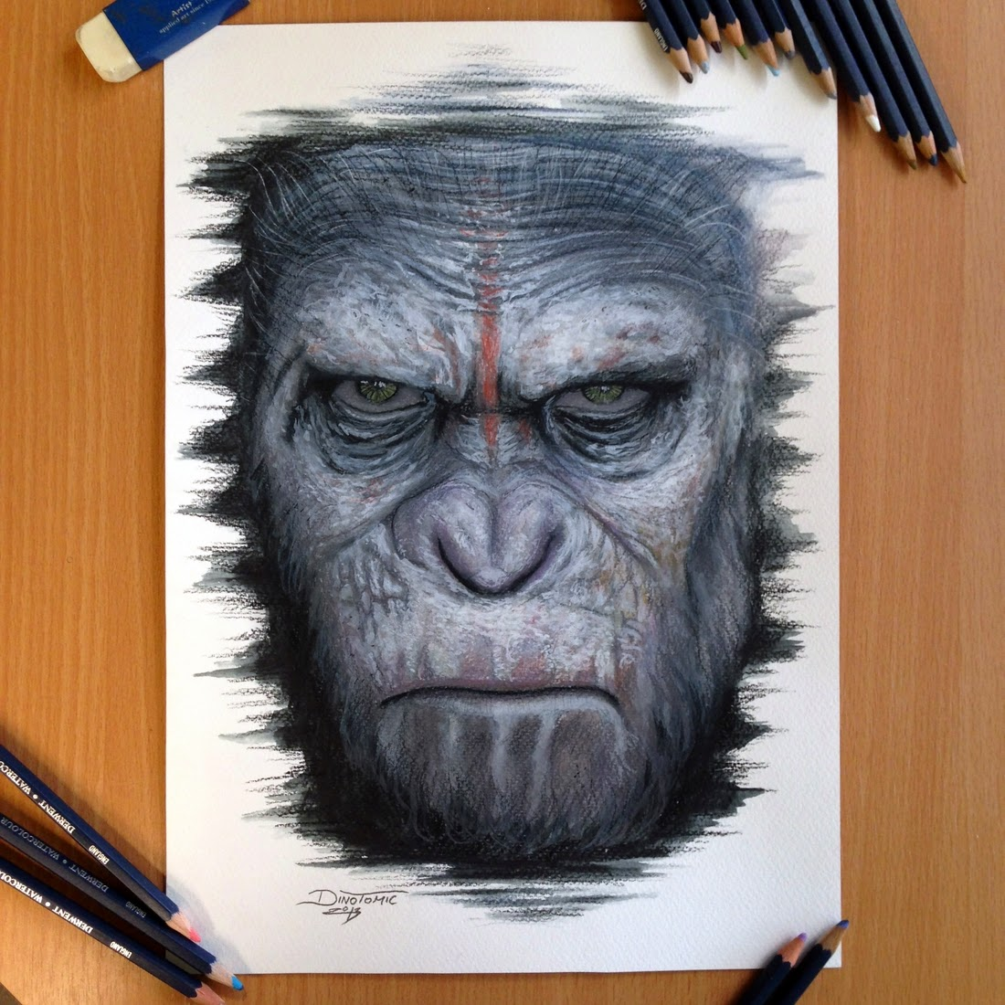 25-Caesar-Planet-of-the-Apes-Dino-Tomic-AtomiccircuS-Mastering-Art-in-Eclectic-Drawings-www-designstack-co
