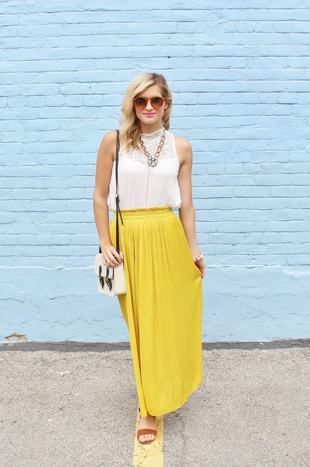 bijuleni- flowy yellow maxi skirt and victorian lace tank