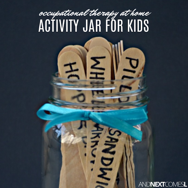 Activity jar filled with occupational therapy activities for kids