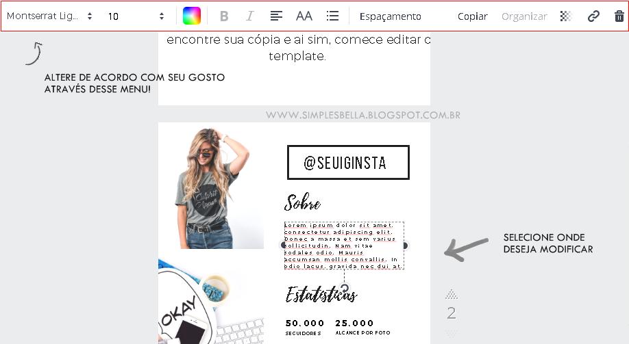 Mídia kit instagram exemplos