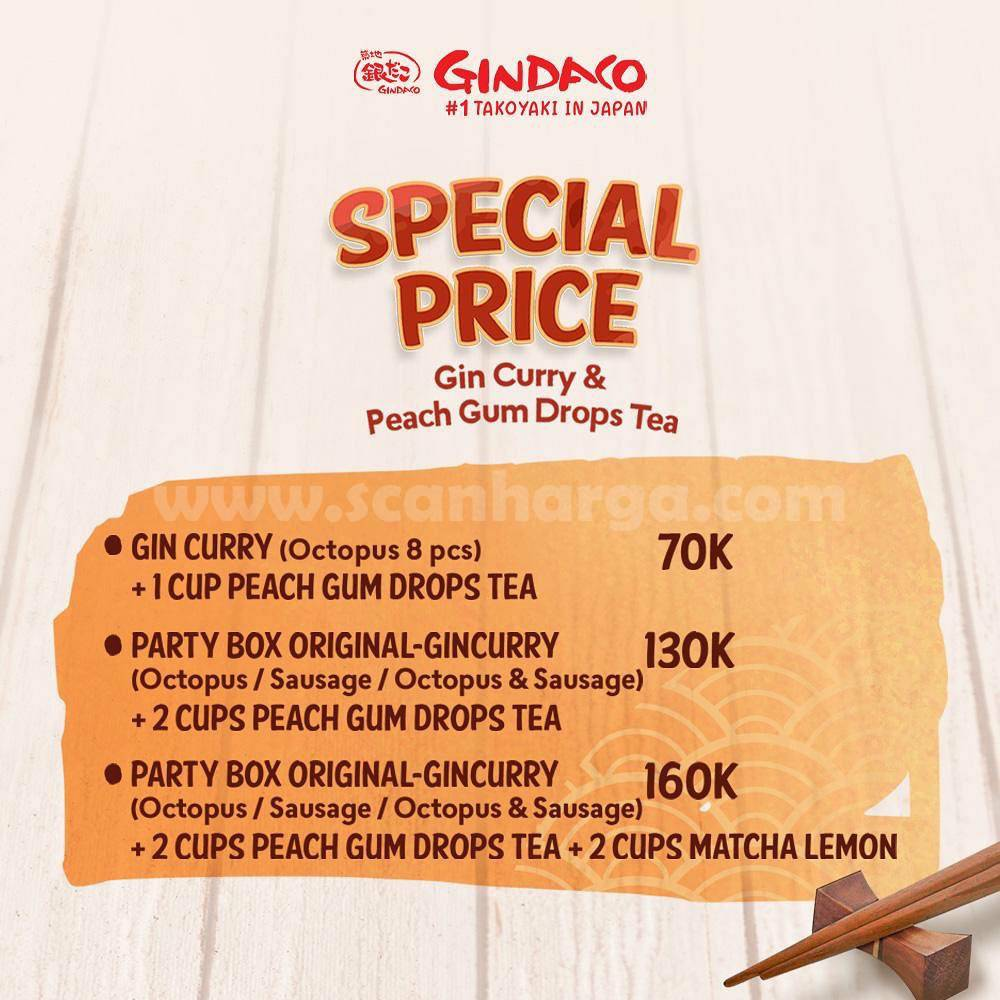 Promo Gindaco Special Price Gin Curry & Peach Gum Drops Tea mulai Rp 70.000,-