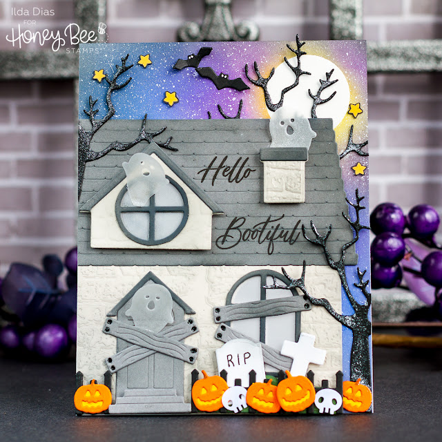 BOOtiful Haunted Halloween House Card | Honey Bee Stamps by ilovedoingallthingscrafty.com