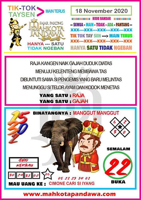 Syair Mahkota Pandawa Rabu 18 November 2020