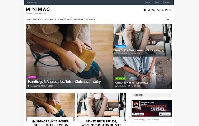 Minimag Responsive Magazine Personal Blog fashions Girly Blog Blogger Template Theme