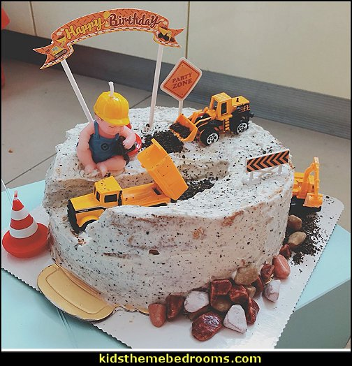 Under Construction  Cone Candle Cake Topper   Construction party ideas - construction party decorations - digger construction party props - Dump Truck Party Decorations - crane construction theme party - work truck decorations - Digger Zone Boys Birthday Party -