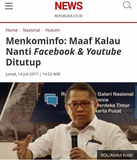 Setelah Telegram Facebook dan Google Akan Diblokir di Indonesia