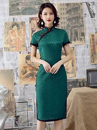Short Green Cheongsam Qipao Dresses