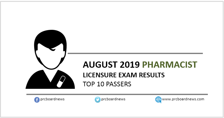 PRC RESULT: August 2019 Pharmacist board exam top 10 passers
