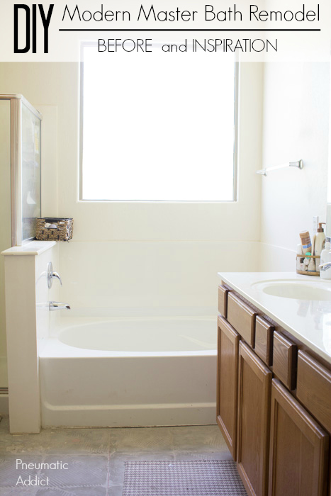 Watch how I transform our dated master bathroom with a DIY modern remodel Before photos and inspiration.