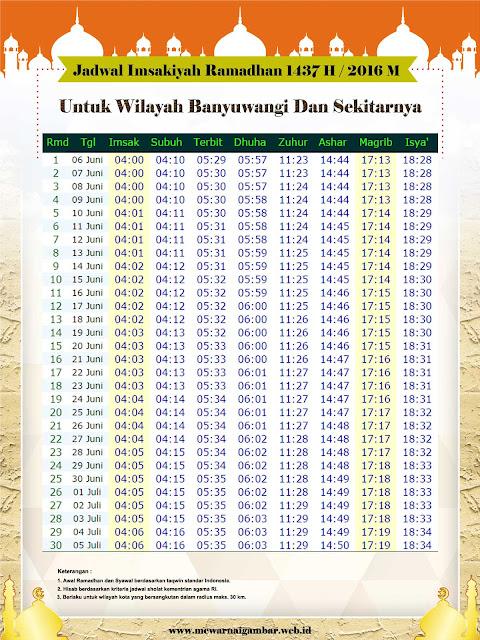 Jadwal Imsakiyah Kota Banyuwangi Jawa Timur 1437 H 2016