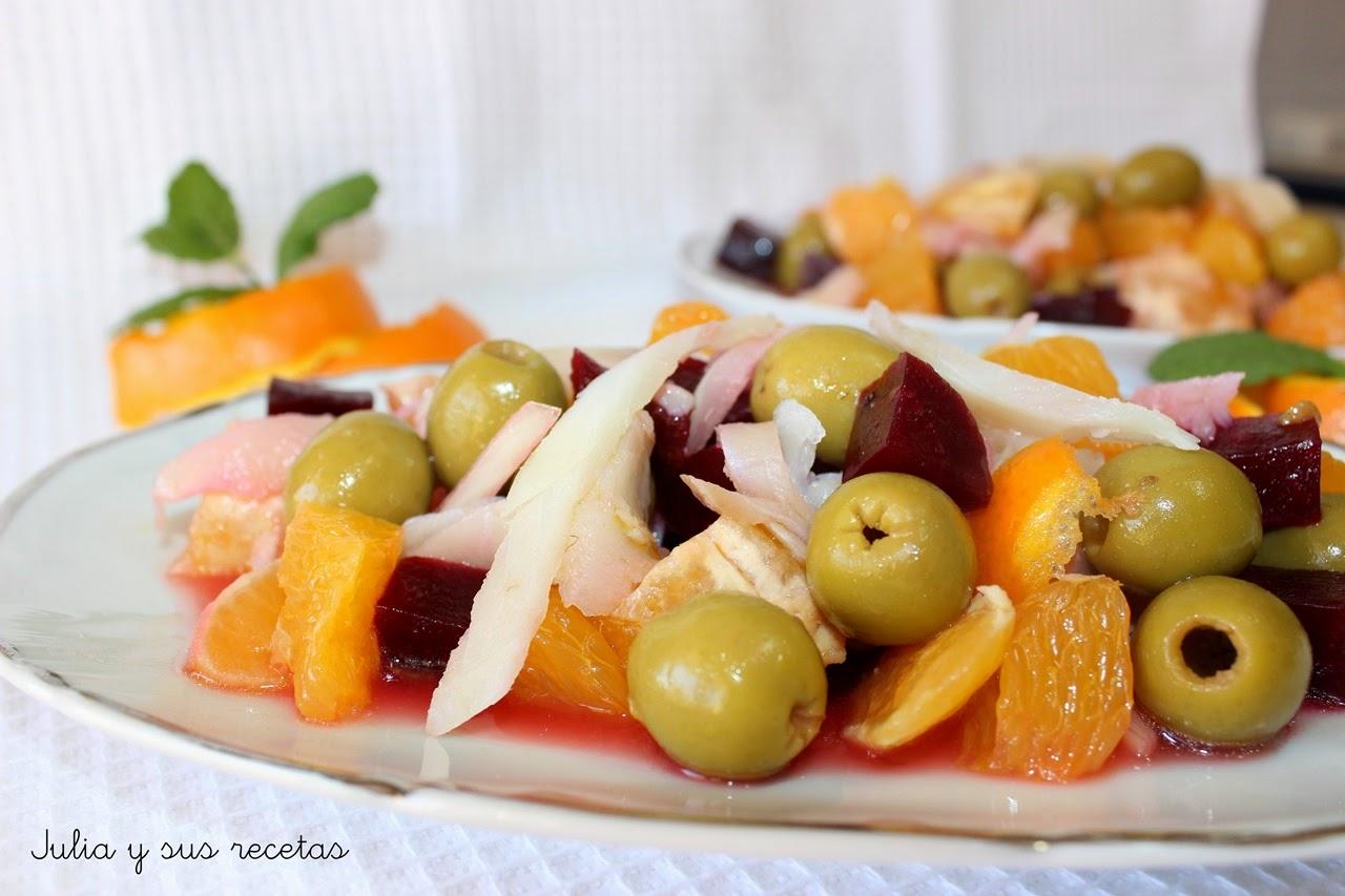 Ensalada de aceitunas, naranja y remolacha. Julia y sus recetas