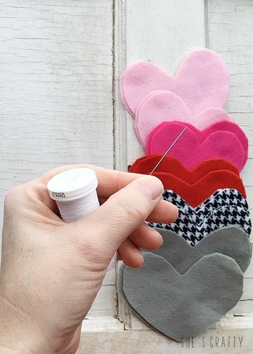 Felt Heart Hand Warmers - blanket stitch around the edges