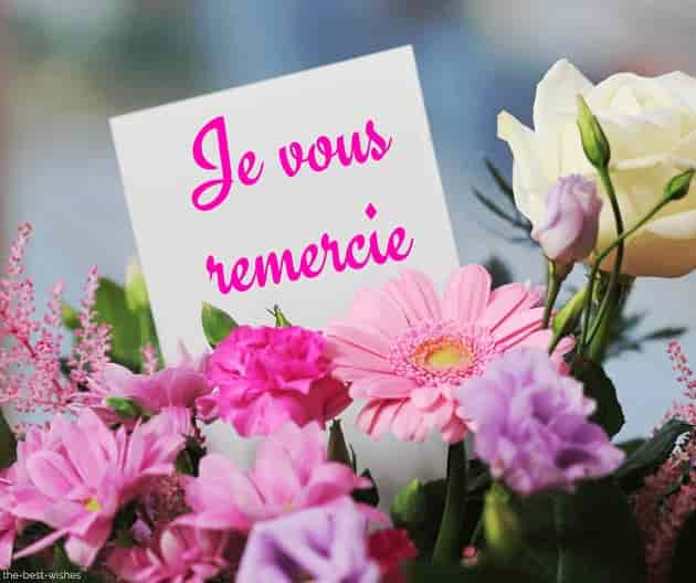 thank you in french with bouquet