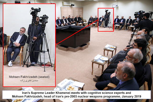 Mohsen Fakhrizadeh  notorious head of Iran's pre-2003 nuclear weapons program, caught on camera in a meeting with Iran's Supreme Leader, Ayatollah Ali Khamenei, and members of a governmental neuroscience coordination body called the Cognitive Science and Technologies Council or CSTC next to Parviz Karami, secretary of the governmental Headquarters for the Development of Culture of Science, Technology and Economics, and a gentleman who looks rather like laser physicist Hamid Latifi of Shahid Beheshti University in a funky pair of glasses