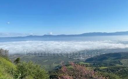 Εντυπωσιακές εικόνες από τη Λαμία: Σύννεφα ομίχλης «έκρυψαν» την πόλη