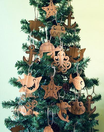 Laser Cut Wood Sea Life Coastal Ornaments