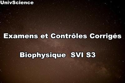 Examens et Contrôles Corrigés de Biophysique SVI S3