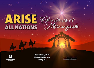 "silhouttes of a camel ride towards a nativity with  the words ""Arise All Nations: Christmas at Morningside"" above"
