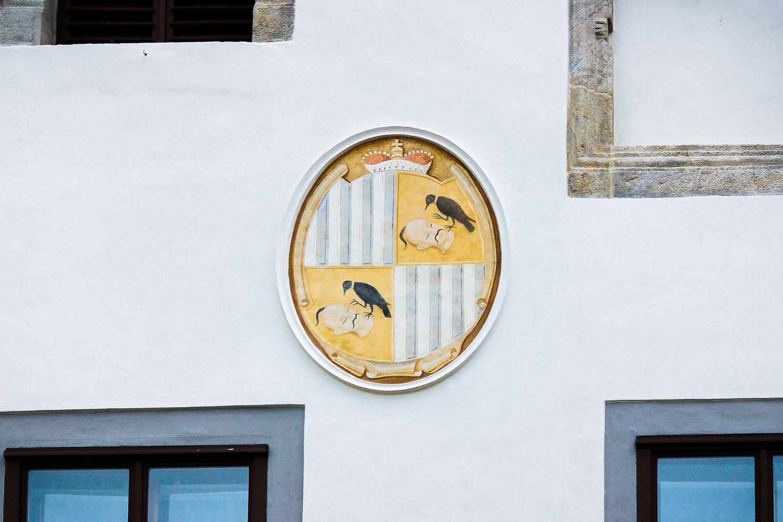 Cesky Krumlov Schwarzenberg Coat of Arms with Turk and Raven